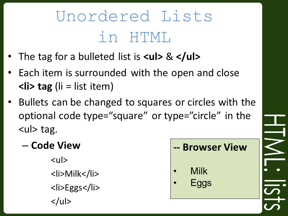 Unordered Lists in HTML