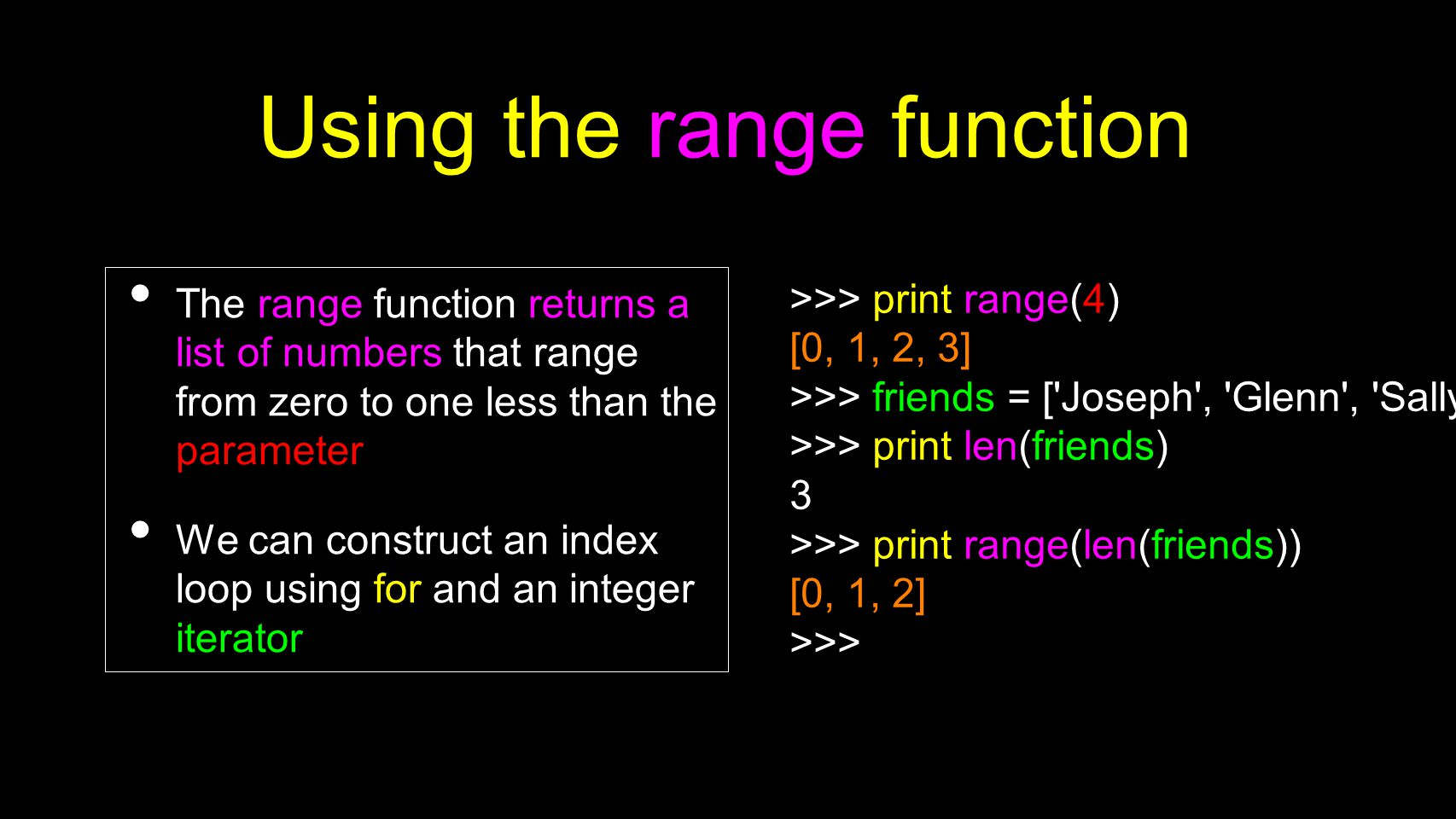Using the range function