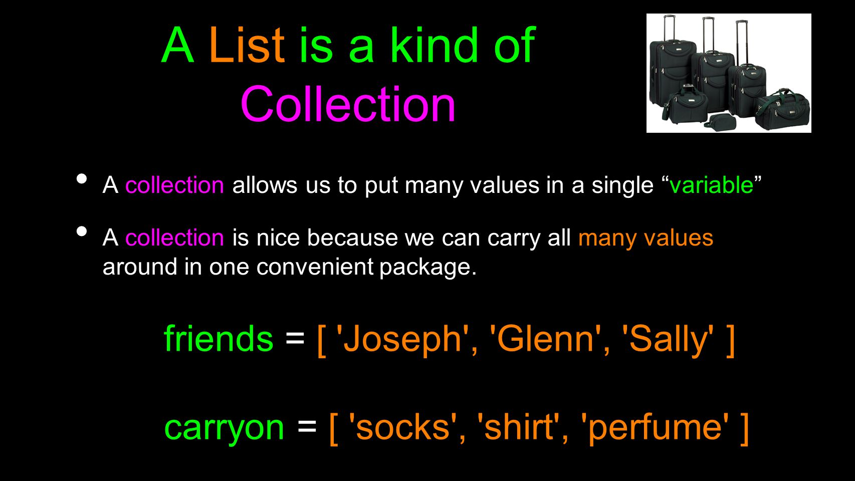 A List is a kind of Collection