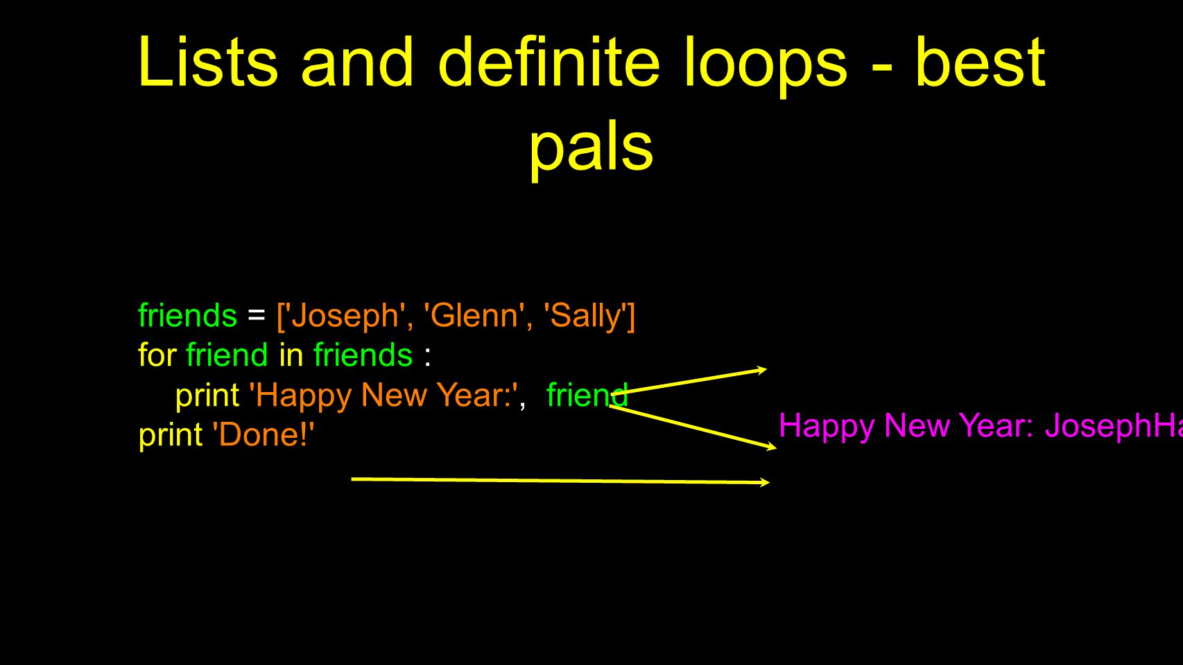 Lists and definite loops - best pals