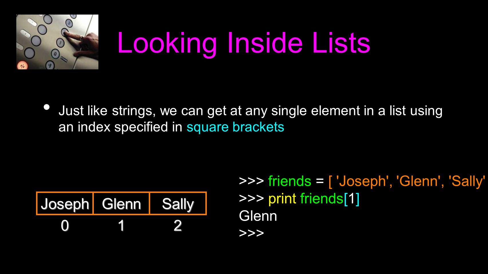 Looking Inside Lists Joseph Glenn Sally 1 2