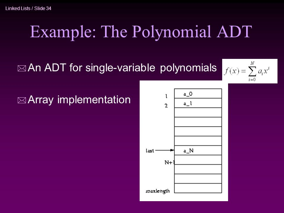 Example: The Polynomial ADT