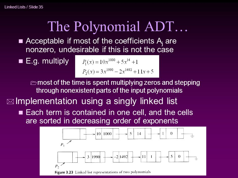 The Polynomial ADT… Implementation using a singly linked list