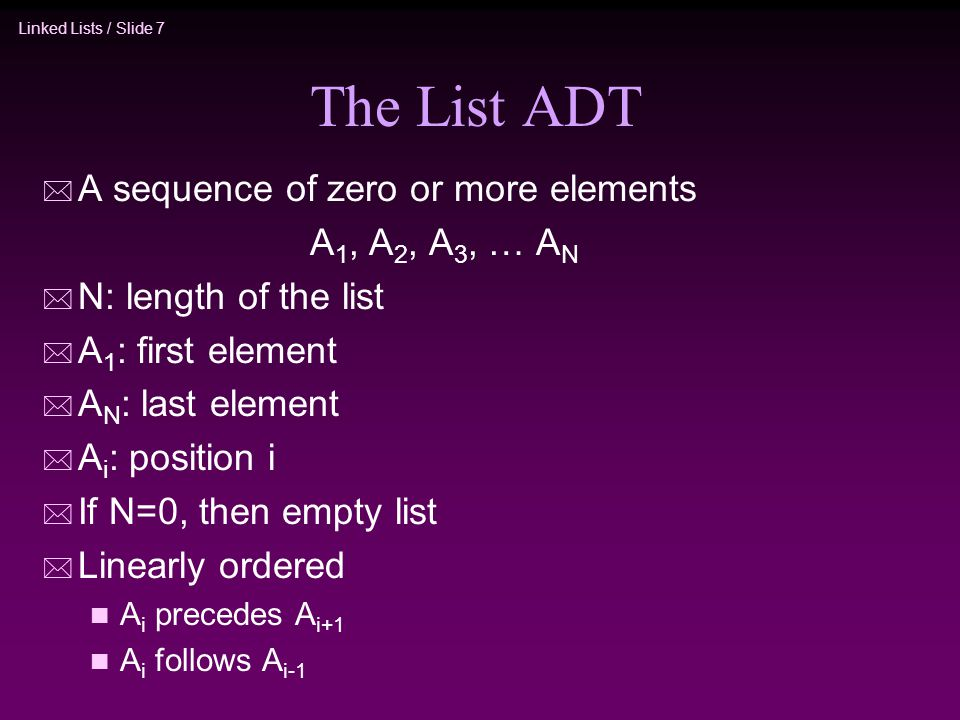 The List ADT A sequence of zero or more elements A1, A2, A3, … AN