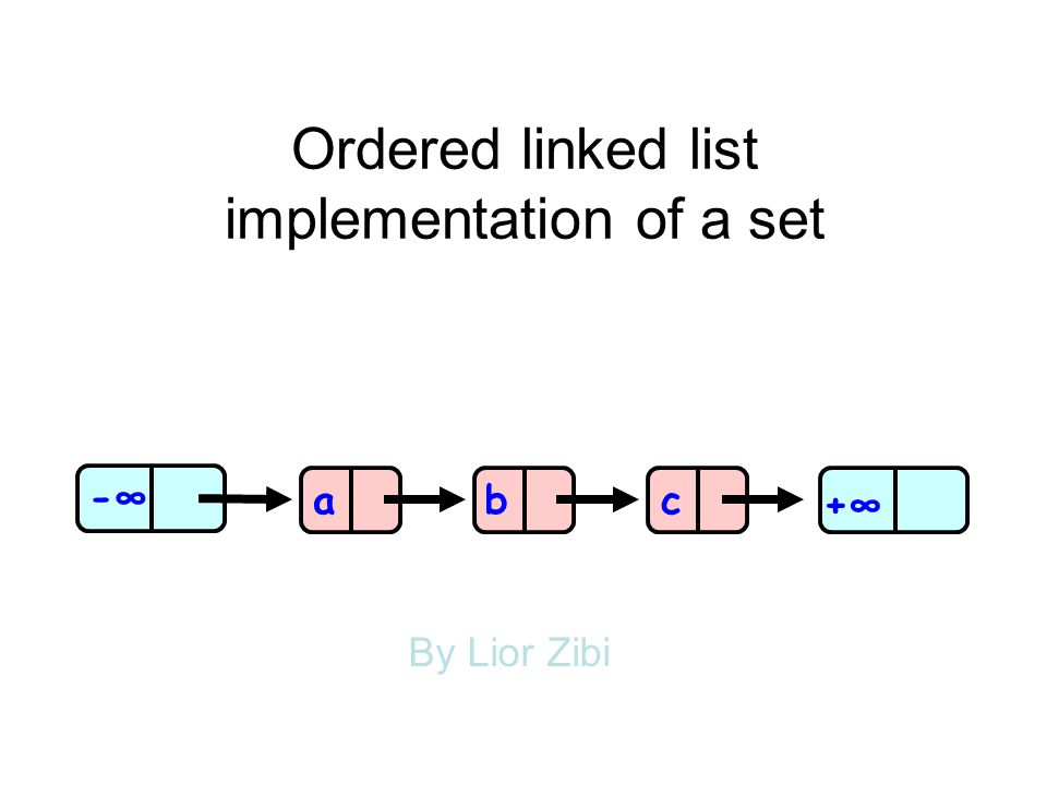 Ordered linked list implementation of a set