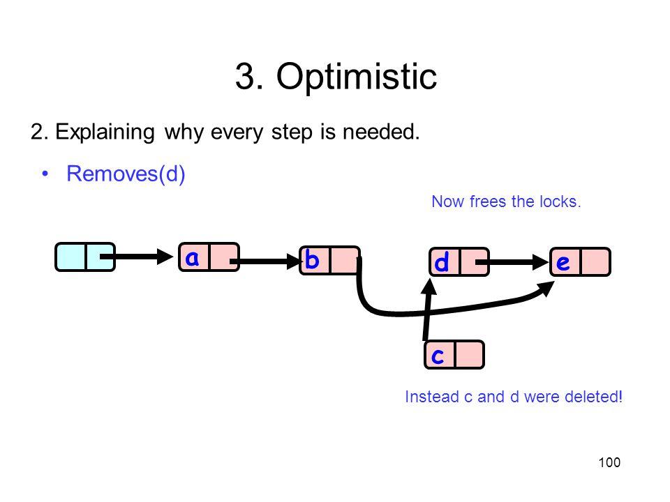 3. Optimistic a b d e c 2. Explaining why every step is needed.