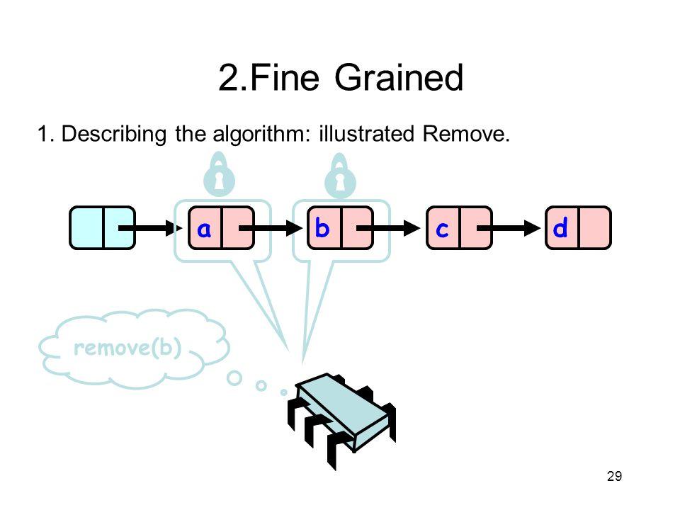 2.Fine Grained 1. Describing the algorithm: illustrated Remove. a b c d remove(b) 29 29