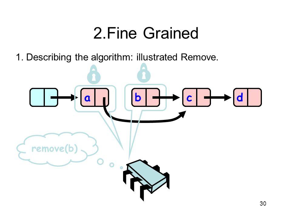 2.Fine Grained 1. Describing the algorithm: illustrated Remove. a b c d remove(b) 30 30