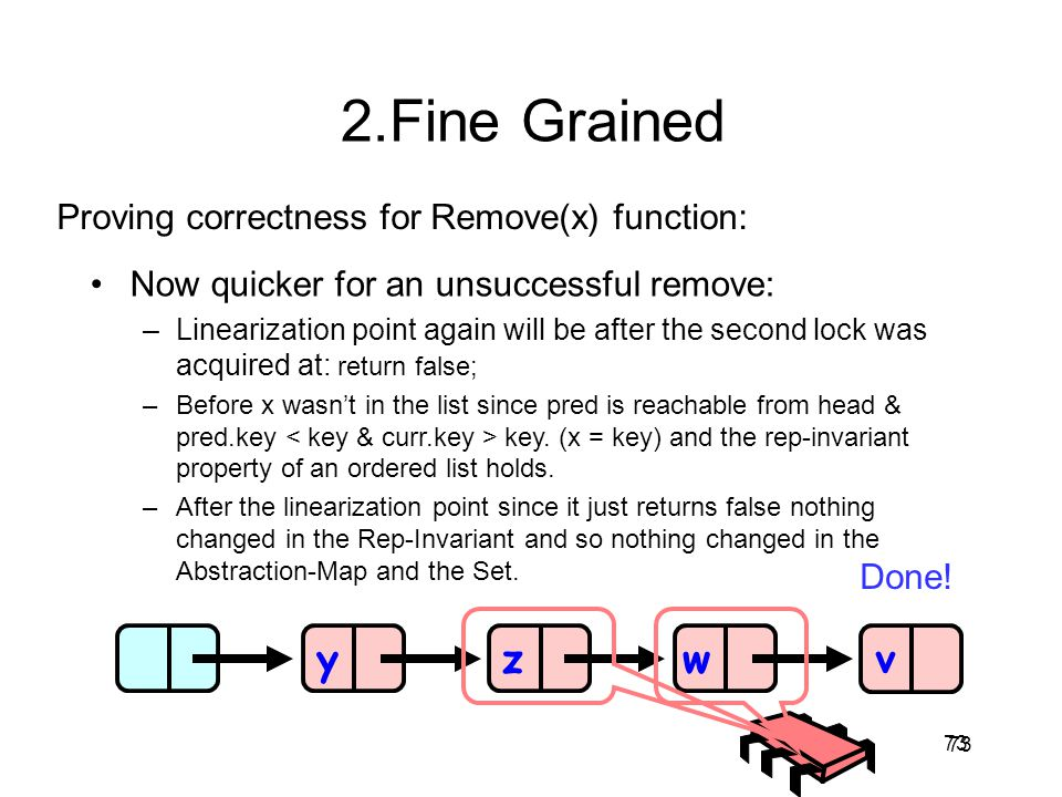 2.Fine Grained y z w v Proving correctness for Remove(x) function: