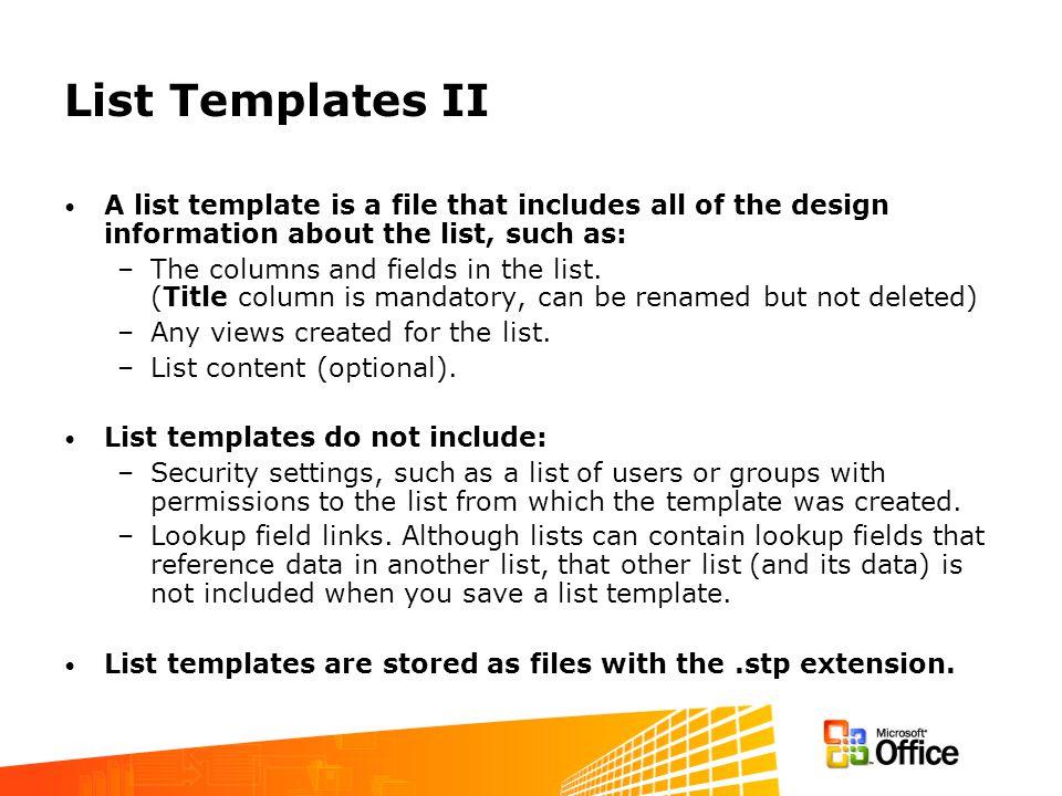 Using List Templates