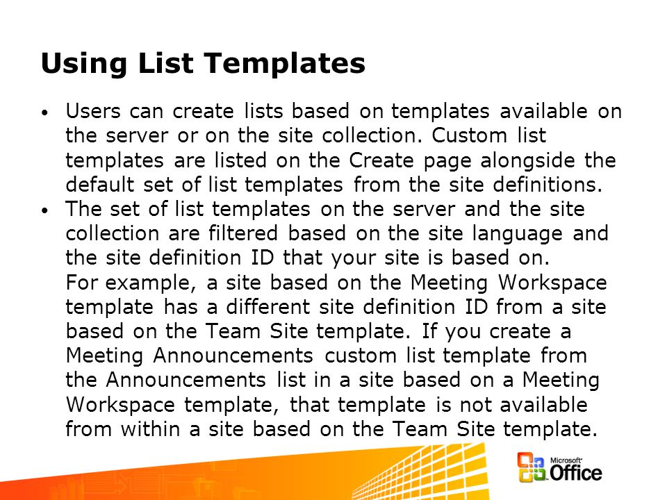 Managing the List Template Gallery