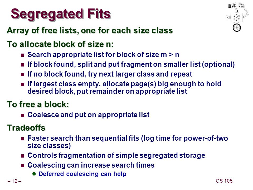 Segregated Fits Array of free lists, one for each size class