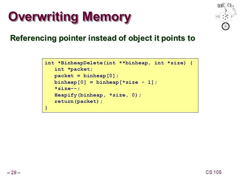 Overwriting Memory Referencing pointer instead of object it points to