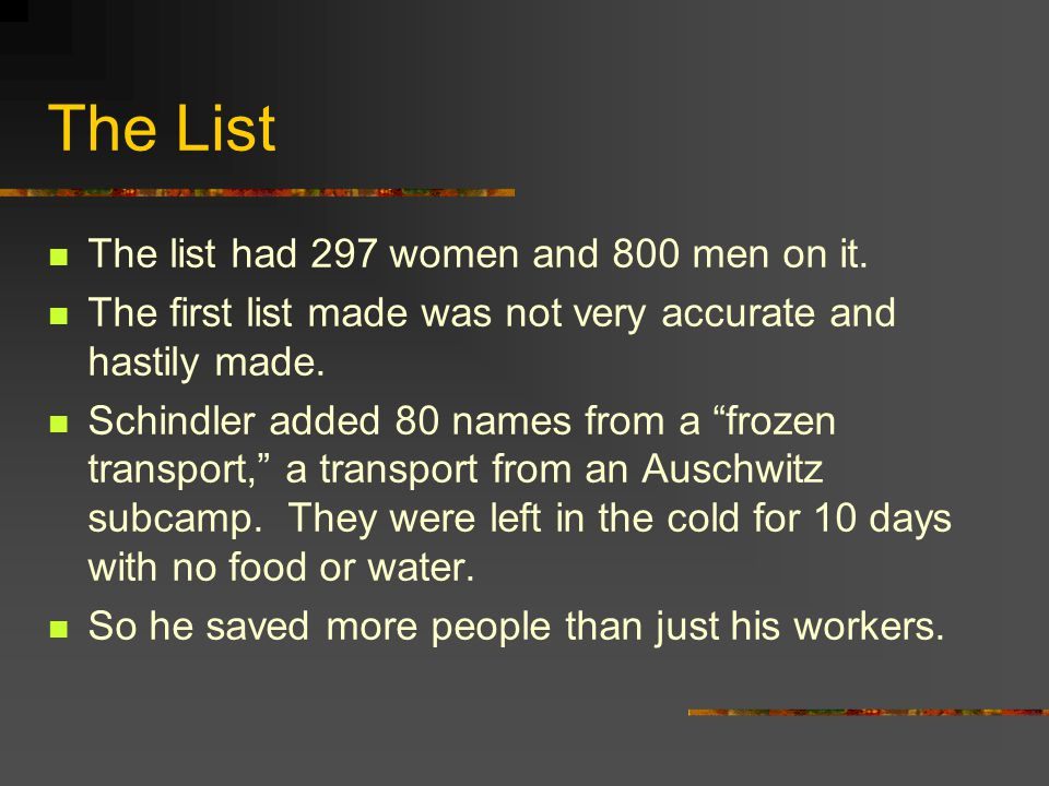 The List The list had 297 women and 800 men on it.