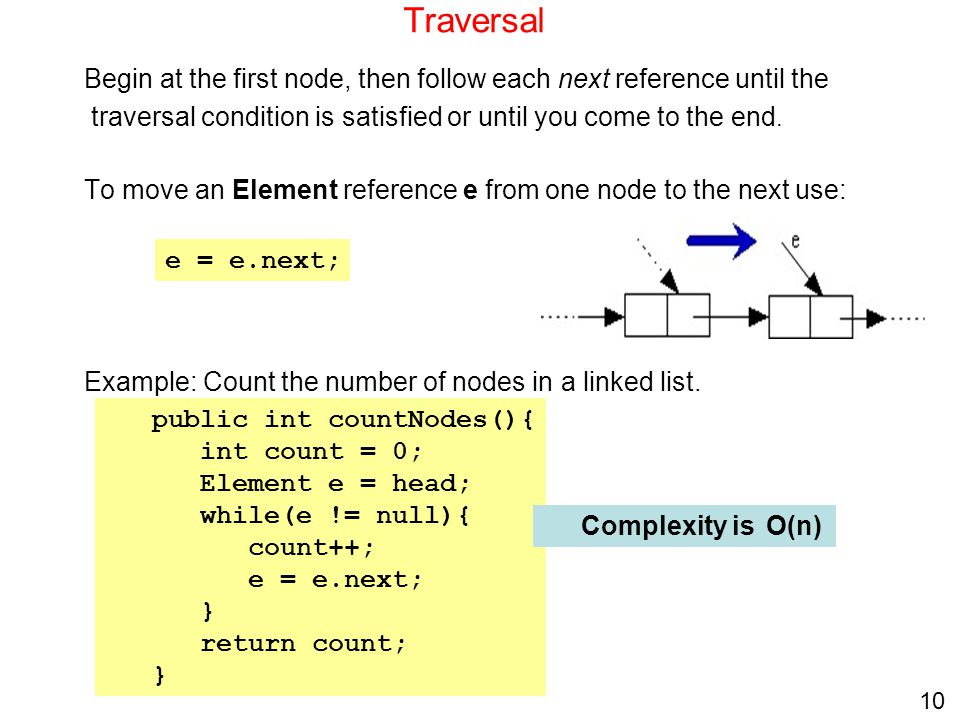 Traversal Begin at the first node, then follow each next reference until the. traversal condition is satisfied or until you come to the end.