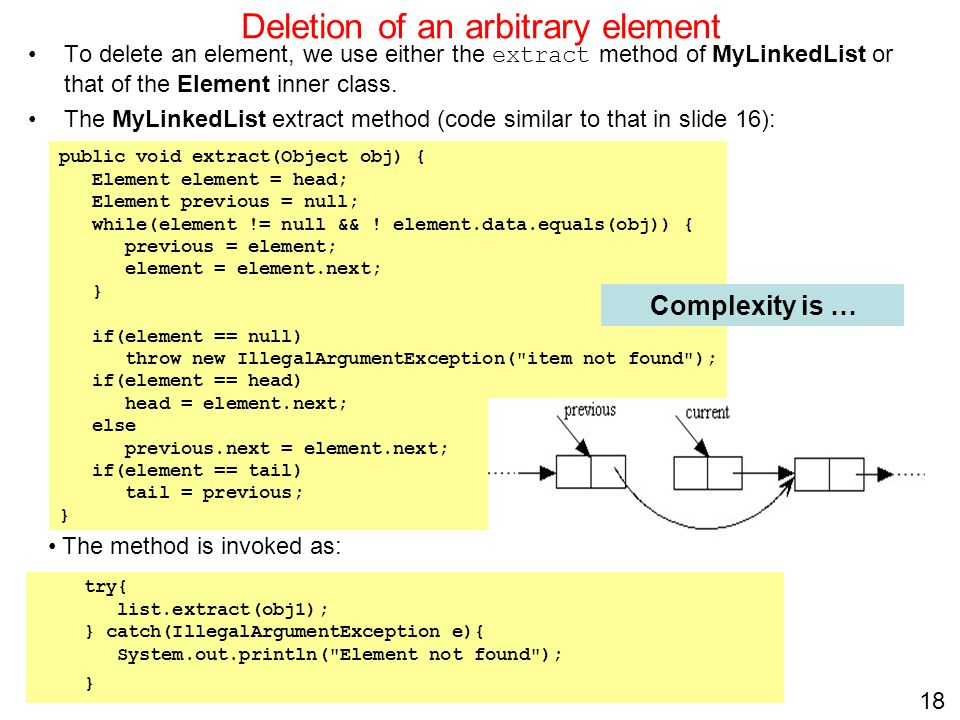 Deletion of an arbitrary element