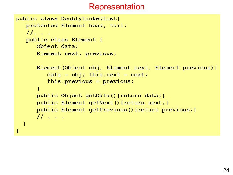 Representation public class DoublyLinkedList{