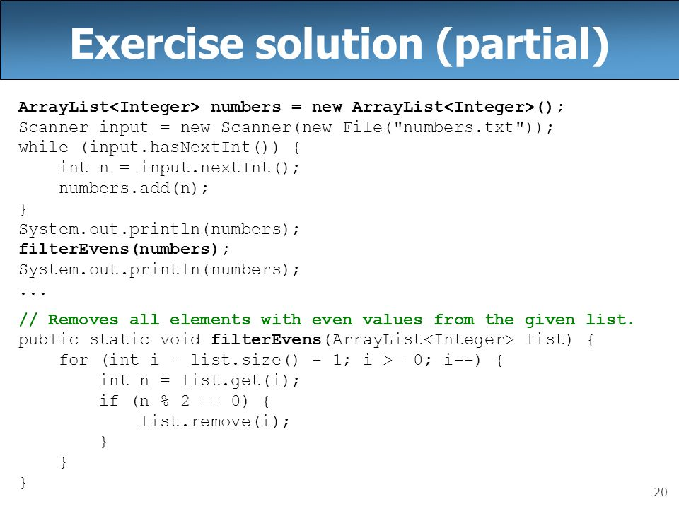 Exercise solution (partial)