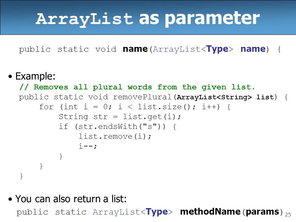 ArrayList as parameter