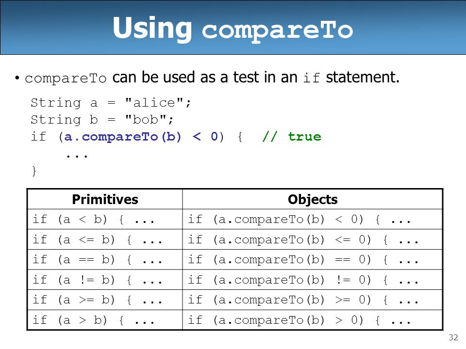Using compareTo compareTo can be used as a test in an if statement.