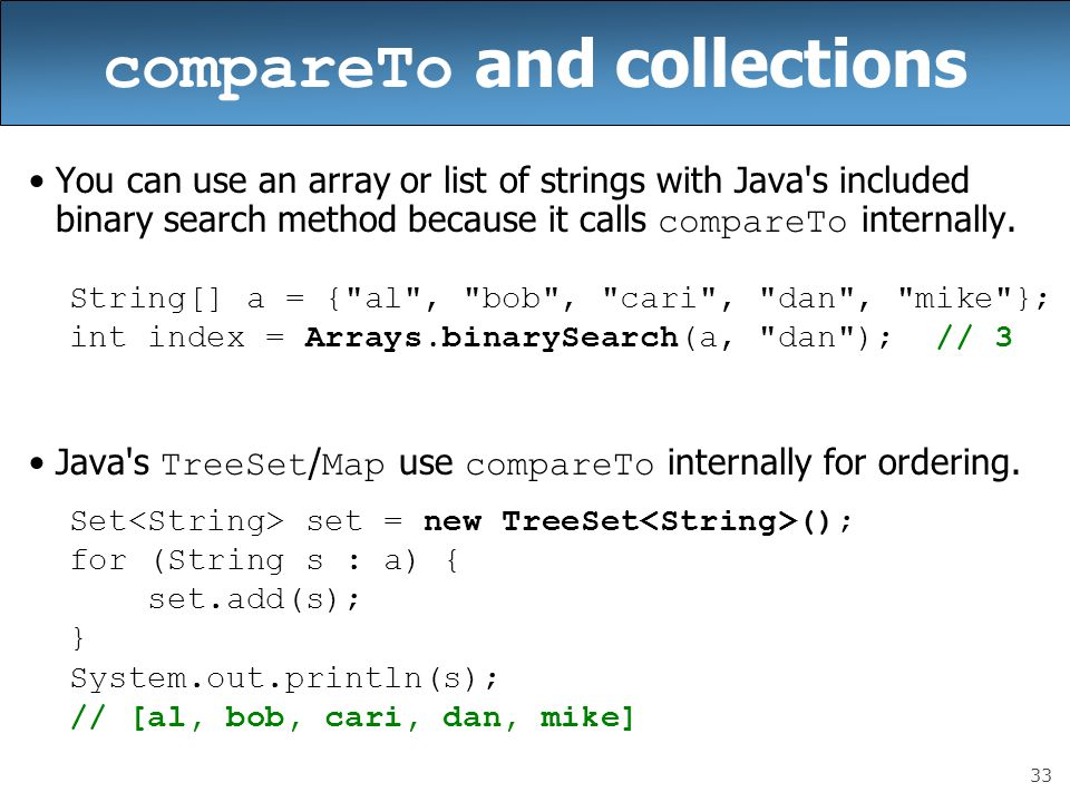 compareTo and collections