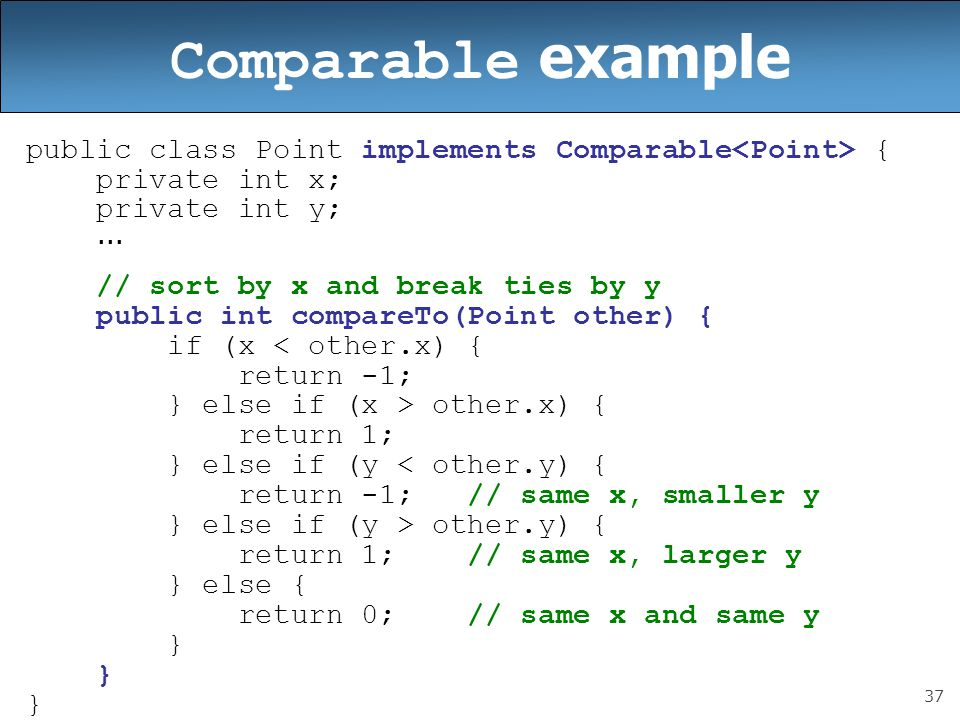 Comparable example public class Point implements Comparable<Point> { private int x; private int y;