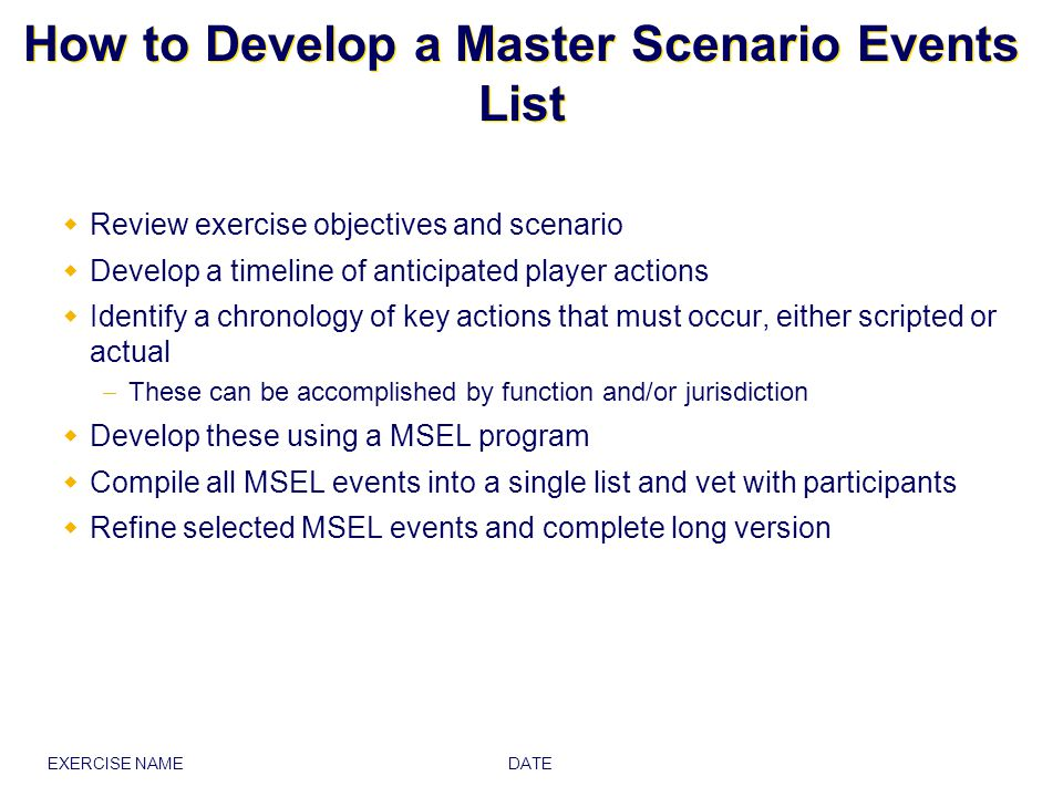 How to Develop a Master Scenario Events List