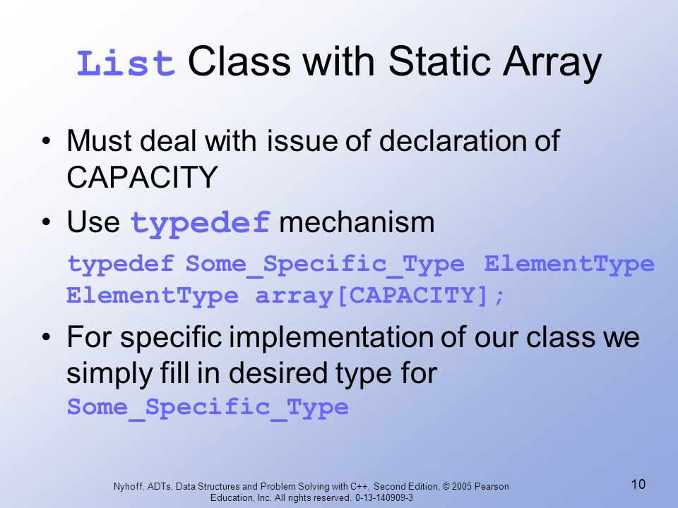 List Class with Static Array