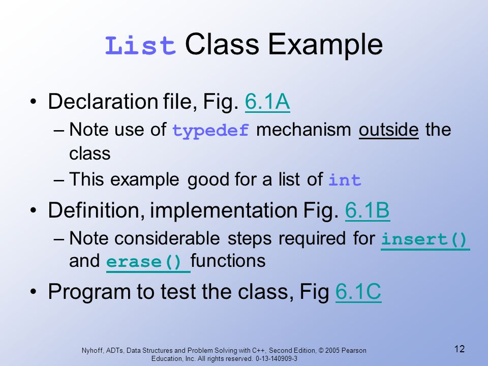 List Class Example Declaration file, Fig. 6.1A