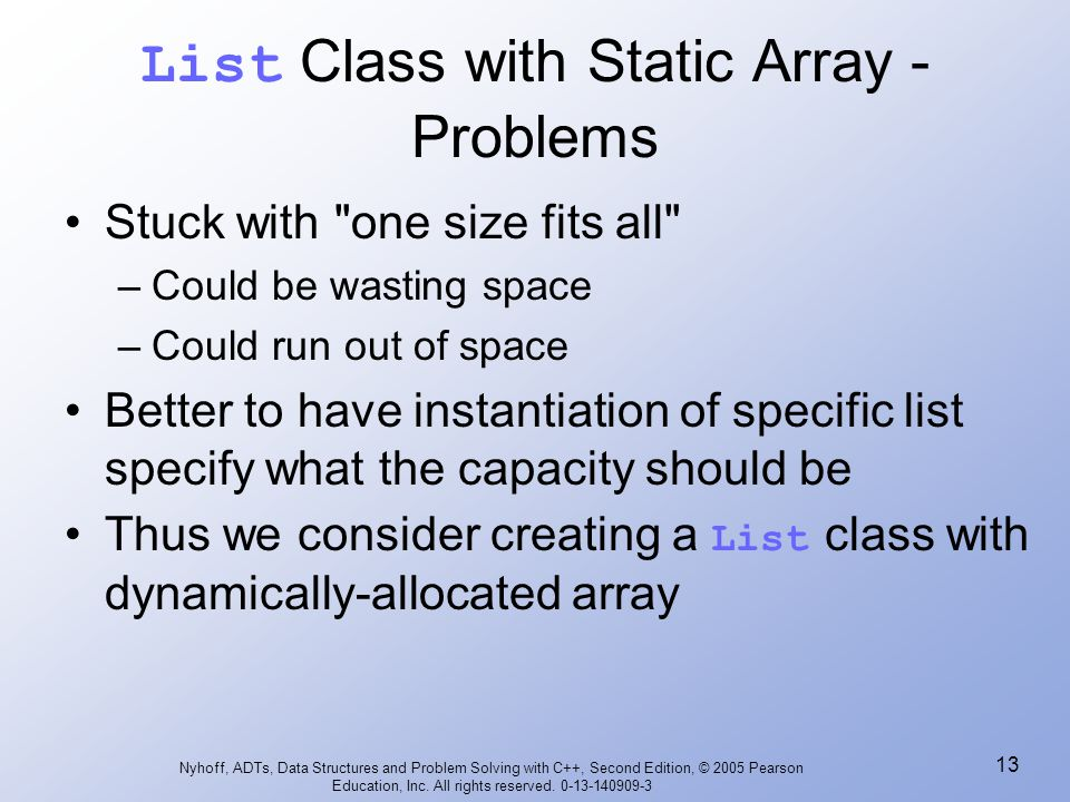 List Class with Static Array - Problems