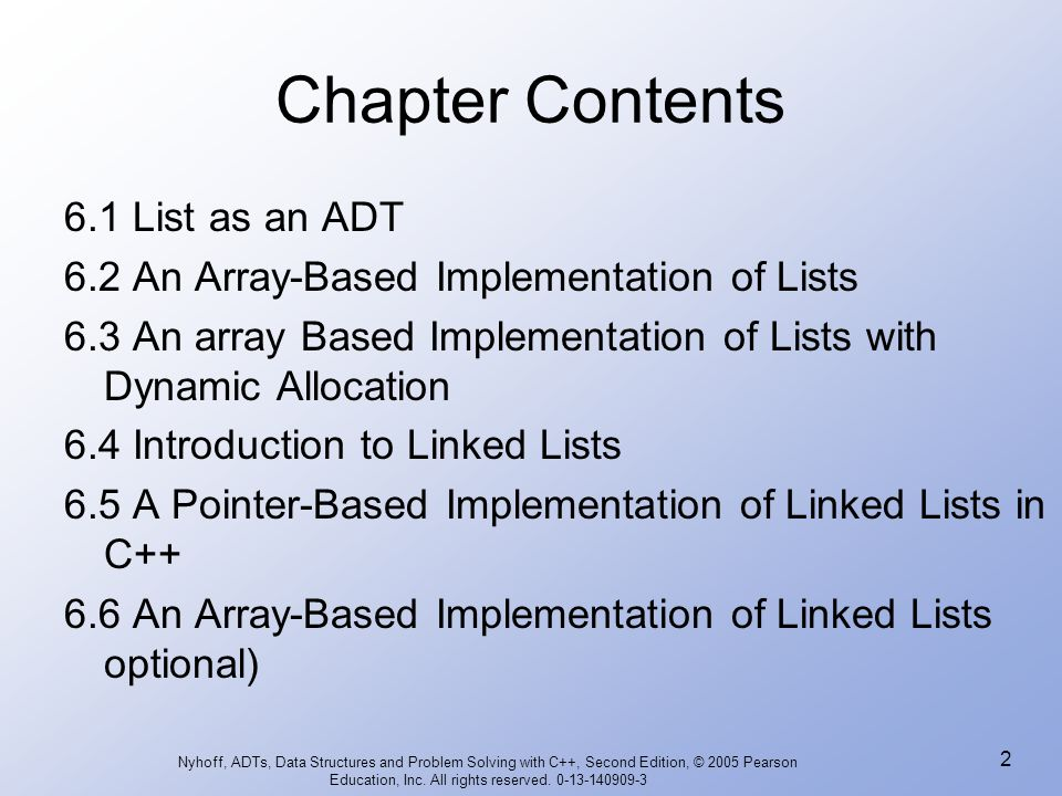 Chapter Contents 6.1 List as an ADT