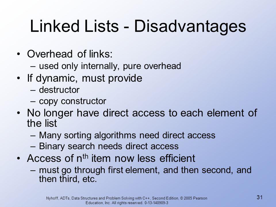 Linked Lists - Disadvantages