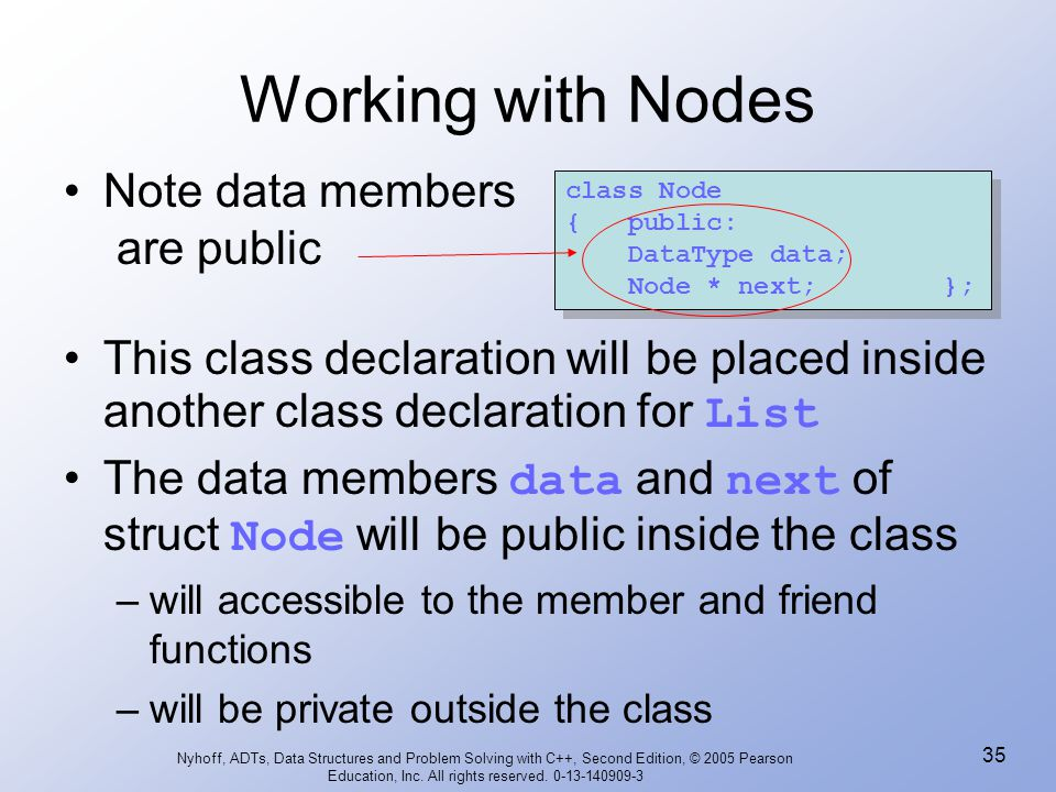 Working with Nodes Note data members are public