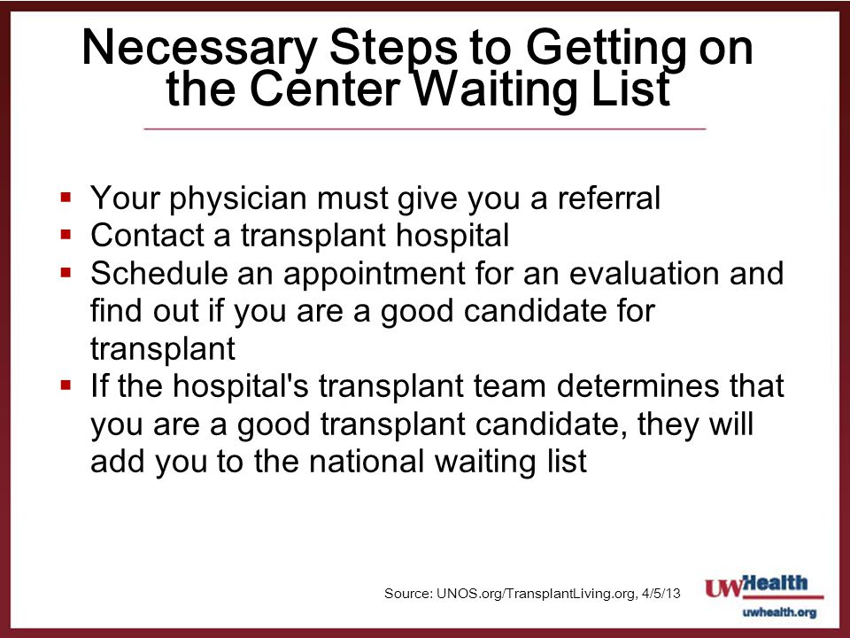 Necessary Steps to Getting on the Center Waiting List