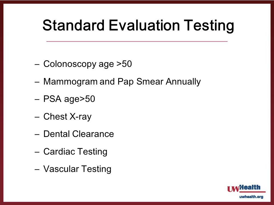 Standard Evaluation Testing