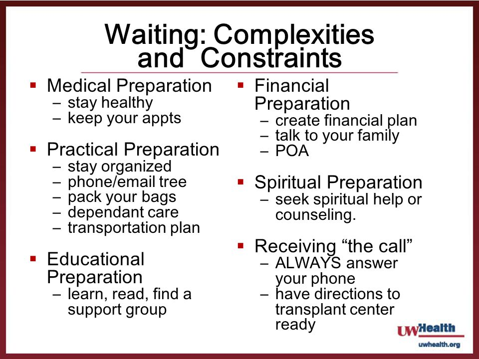 Waiting: Complexities and Constraints