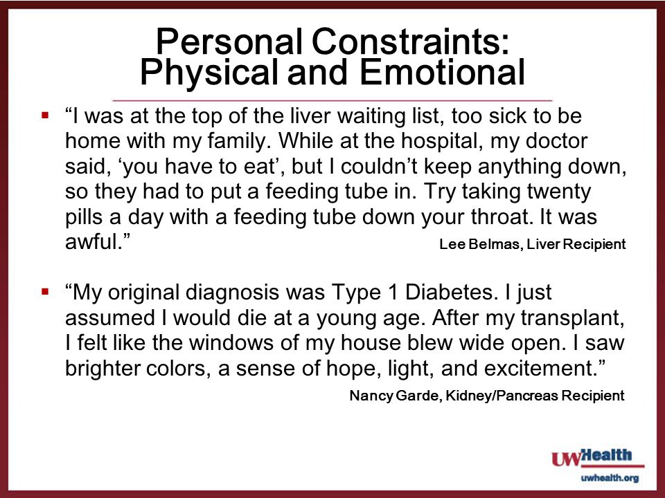 Personal Constraints: Physical and Emotional