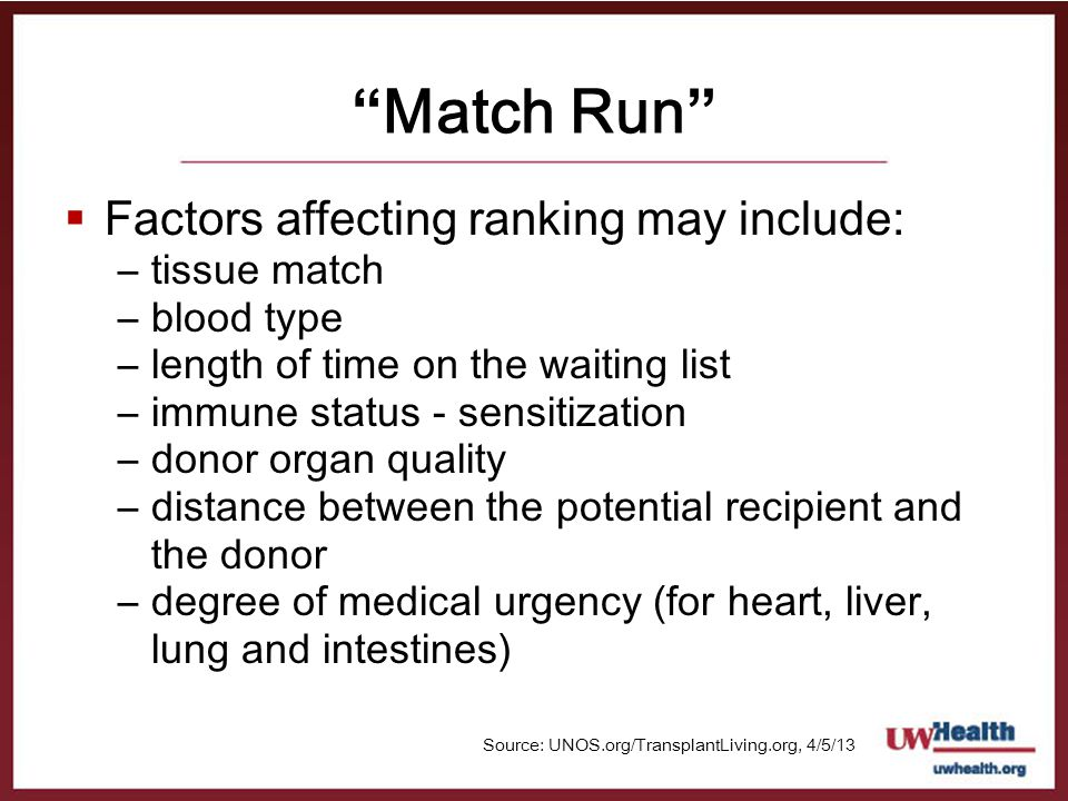 Match Run Factors affecting ranking may include: tissue match