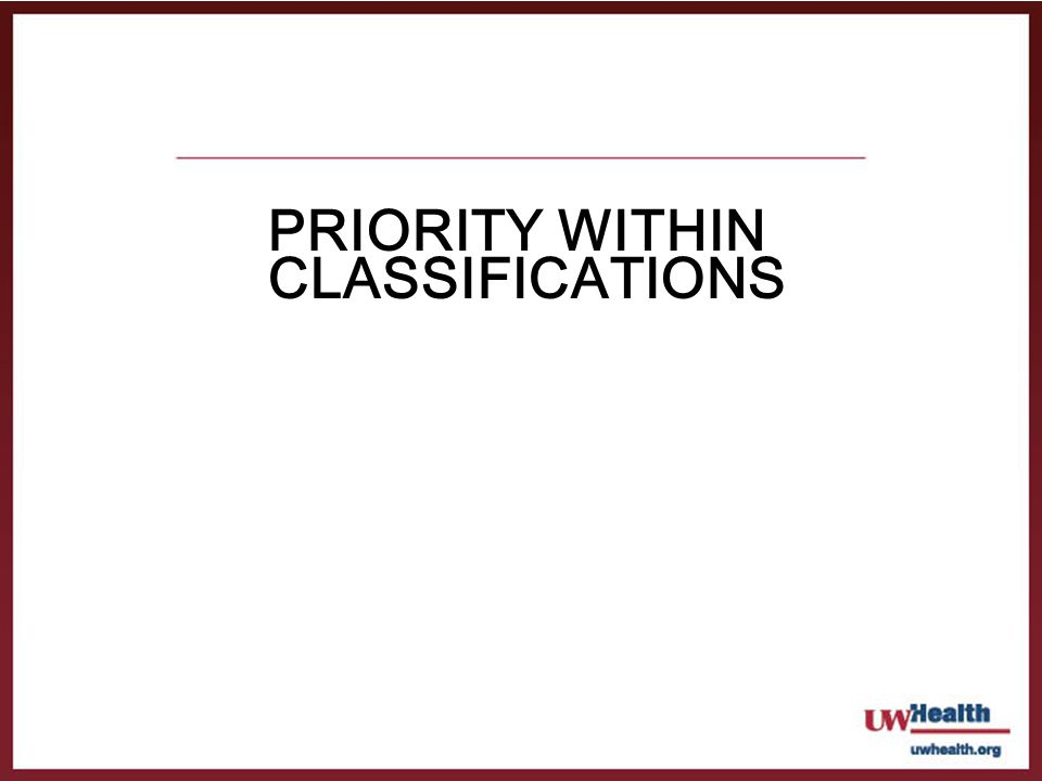 Priority within Classifications