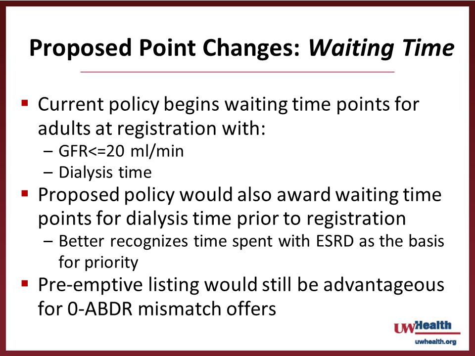 Proposed Point Changes: Waiting Time