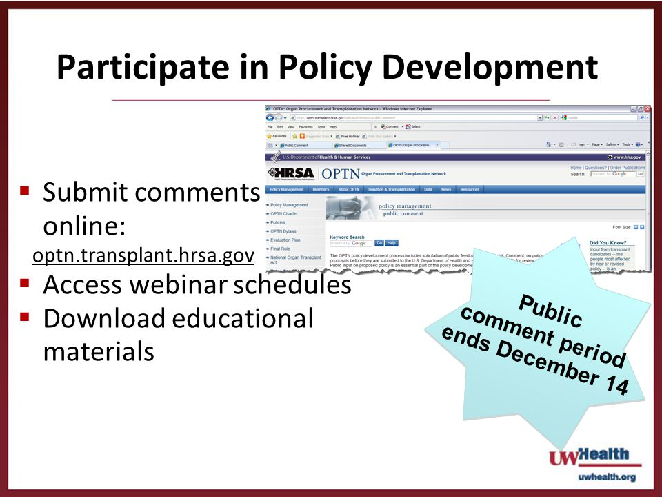 Participate in Policy Development