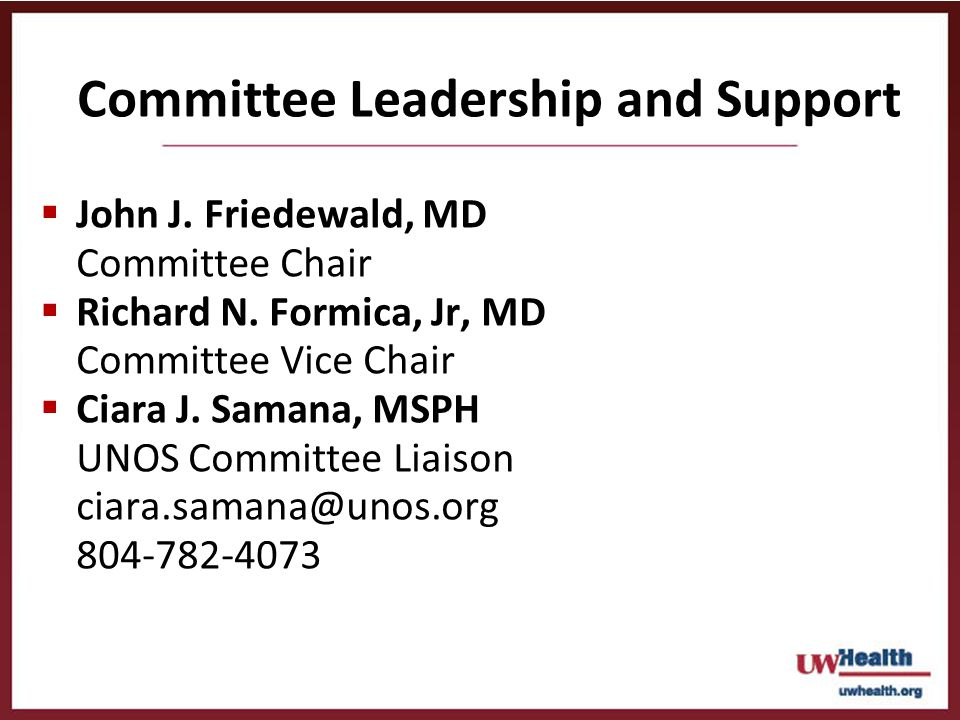 Committee Leadership and Support