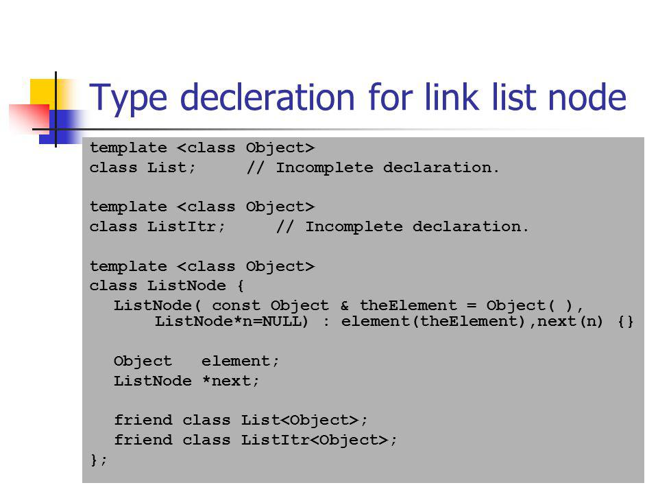 Type decleration for link list node