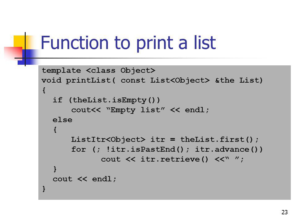 Function to print a list