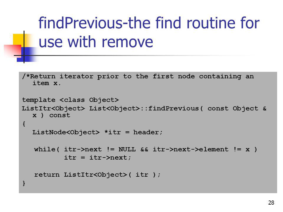 findPrevious-the find routine for use with remove