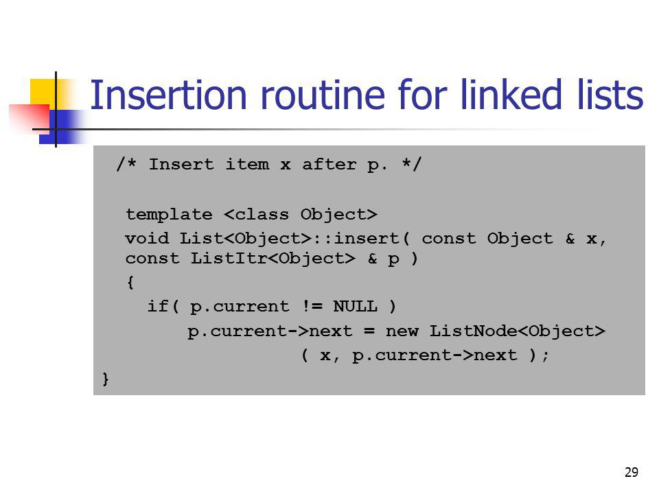 Insertion routine for linked lists