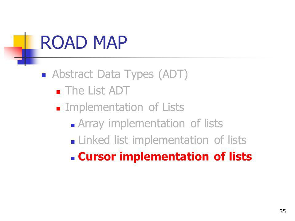 ROAD MAP Abstract Data Types (ADT) The List ADT