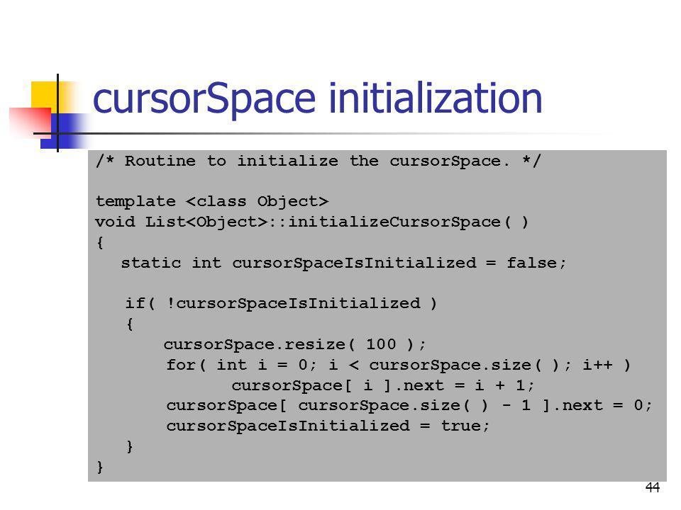 cursorSpace initialization
