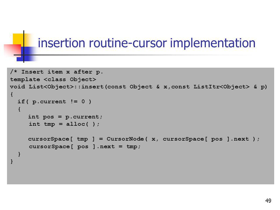 insertion routine-cursor implementation