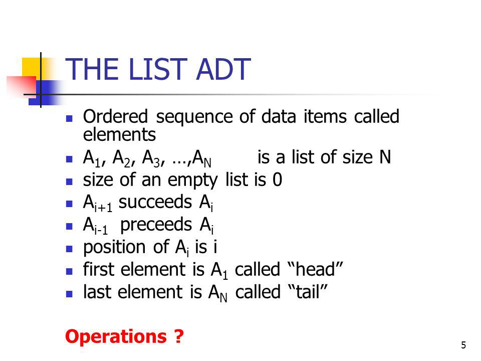 THE LIST ADT Ordered sequence of data items called elements